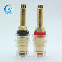 4PCS Pure Brass Gilded   5 way binding post  long thread  terminalsplug terminals For speaker CD audio amplifier DAC