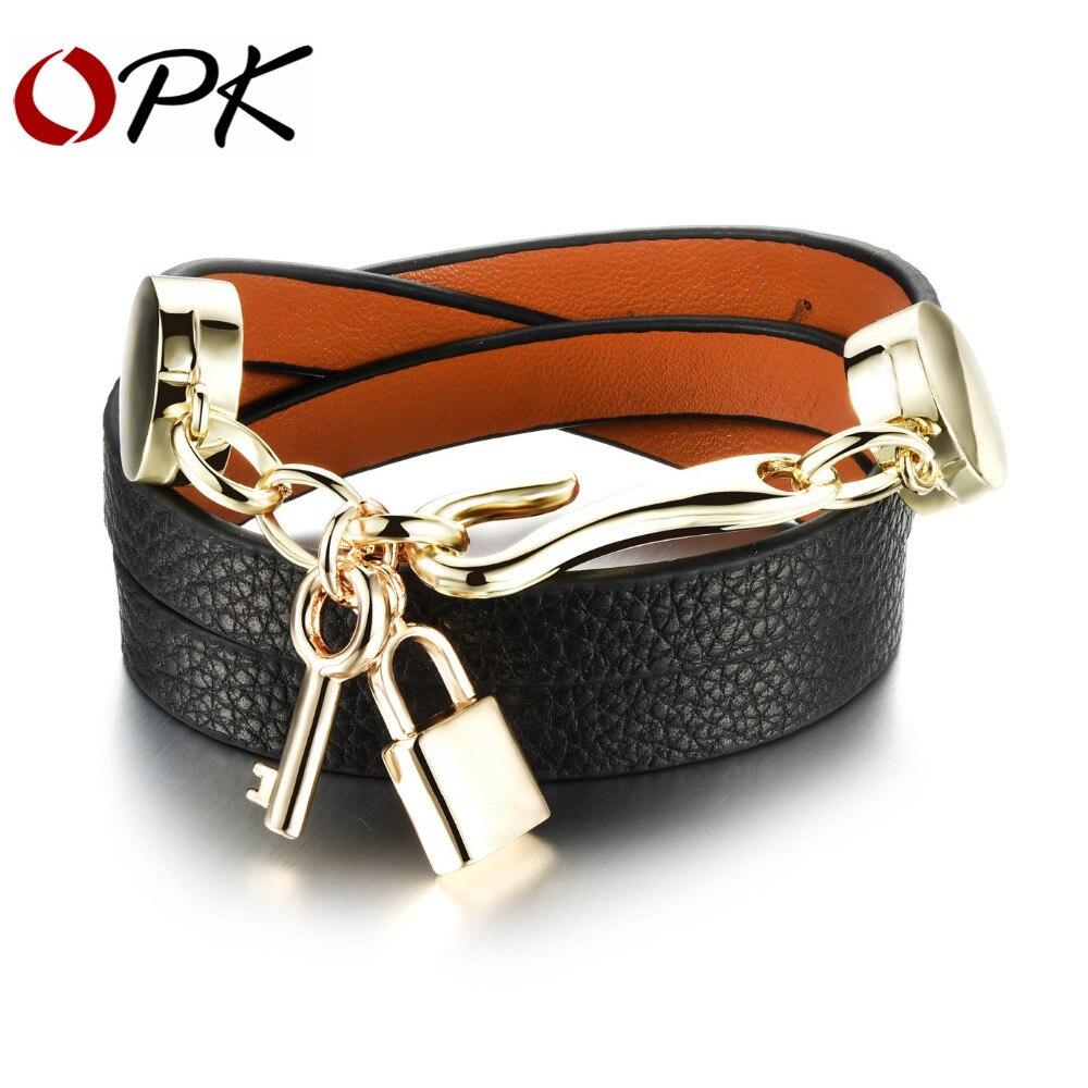 OPK Main Femme Wrap Bracelets Nouvelle Mode En Cuir + Acier Inoxydable Key Lock Pendentif Femmes Bijoux Accessoires PH1072