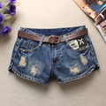 Mulheres verão Shorts Jeans Shorts de Hip Hop Do Vintage Buracos Rebite Jean cintura Baixa Shorts Sem Belt