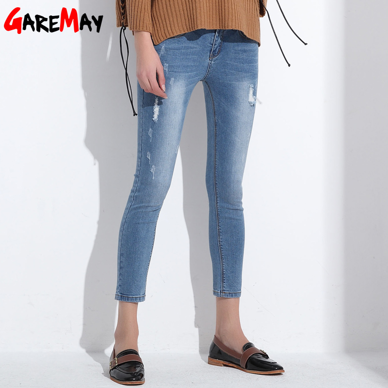 Ripped Jeans For Women Skinny Denim Capri Jeans Femme Stretch Female Jeans Vaqueros Mujer Slim Pencil Pants For Women GAREMAY summer boyfriend jeans for women hole ripped white lace flowers denim pants low waist mujer vintage skinny stretch jeans female