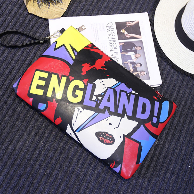 New arrival cartoon character alphabet color stitching personalized fashion casual black envelope clutch bag handbag evening bag new arrival cartoon images girl fashion black