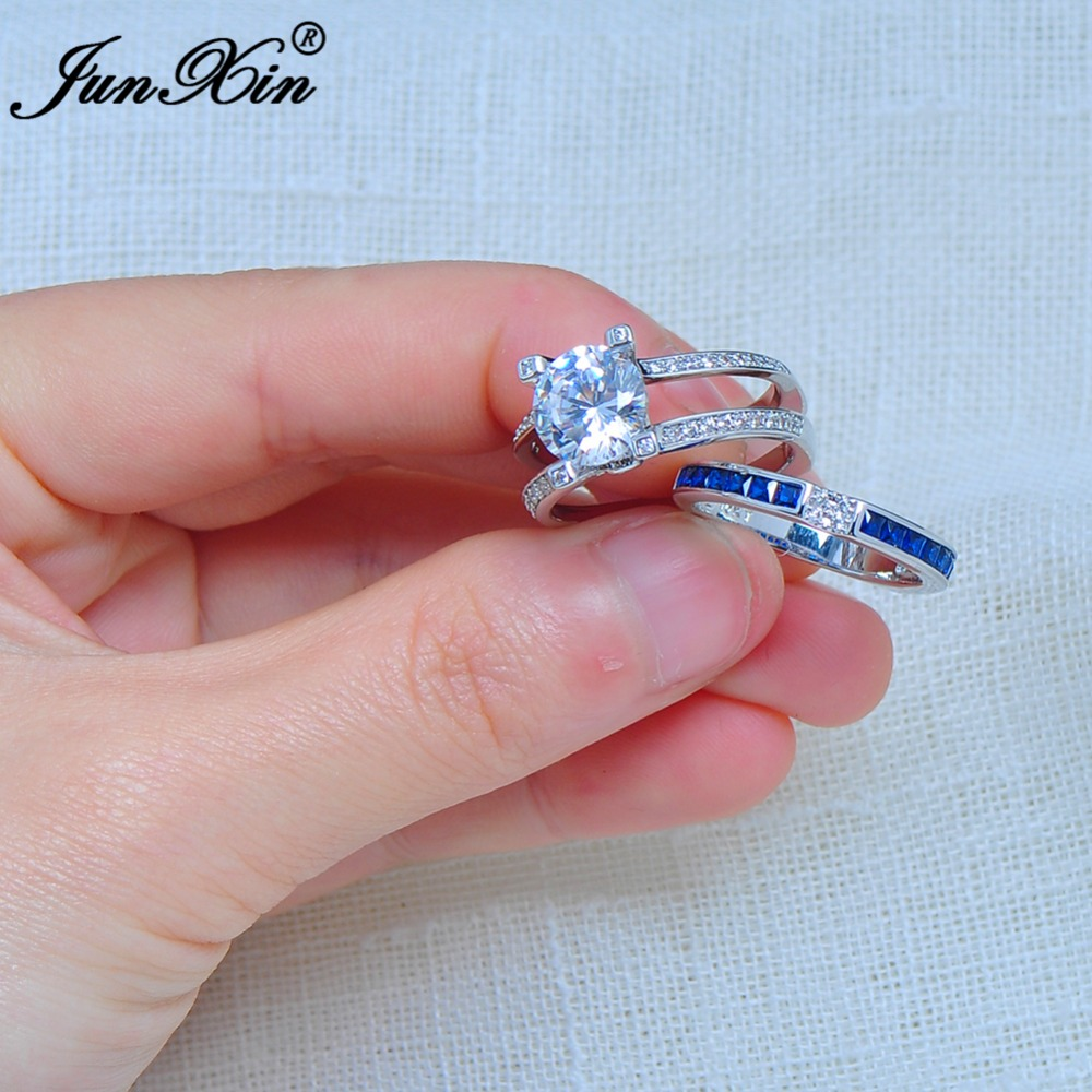 JUNXIN Gorgeous Blue Crystal Ring Set Vintage Wedding Rings For ...