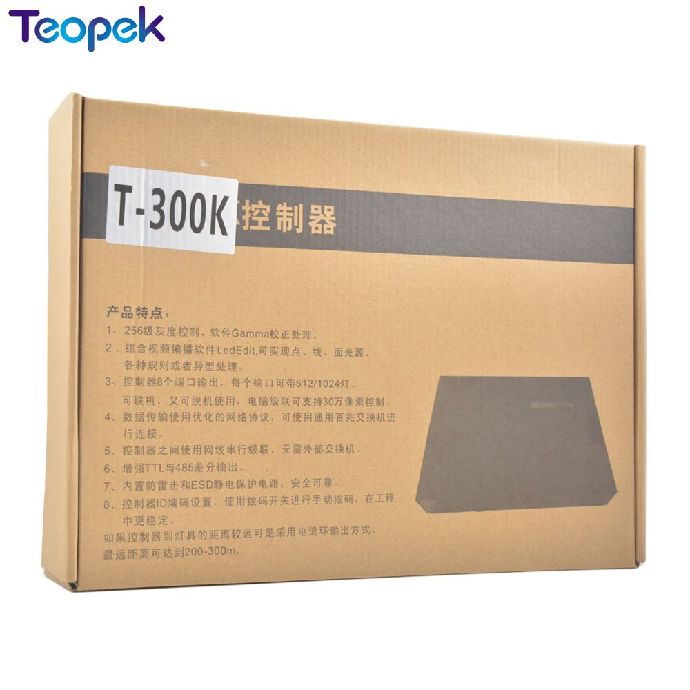 T 300K T300K SD карты онлайн через ПК RGB полноцветный светодиодный пиксель модуль контроллера 8 портов 8192 пикселей WS2811 WS2801 WS2812 6803