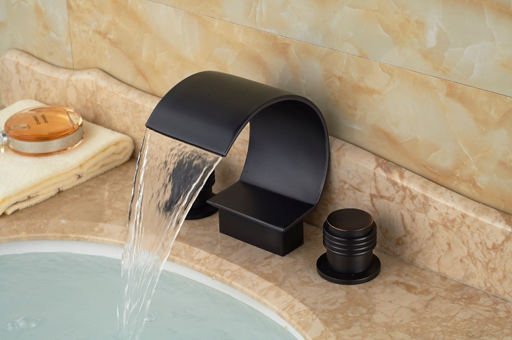Oil Rubbed Bronze Waterfall Bathroom Basin Faucet Widespread Vanity Sink Mixer чехол для iphone 5 mitya veselkov kafkafive 41
