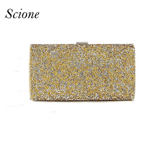 57573c87c Mulheres Embreagem Noite sacos de ouro Diamante Rhinestone Cristal Garras  Carteira Bolsa Festa de Casamento Chian
