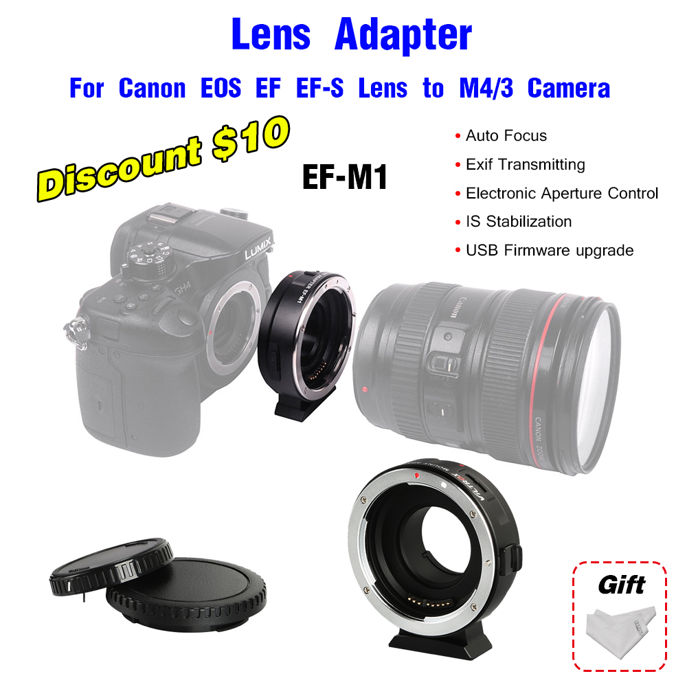 Lens Adapter Viltrox EF-M1 for Canon EOS EF EF-S Lens to M4/3 Camera SLR lens For Canon Olympus Panasonic Camera adapter GH85GK viltrox nf m43x focal reducer speed booster adapter turbo w aperture for nikon lens to m4 3 camera gh4 gh5gk gh85gk gf7gk gx7