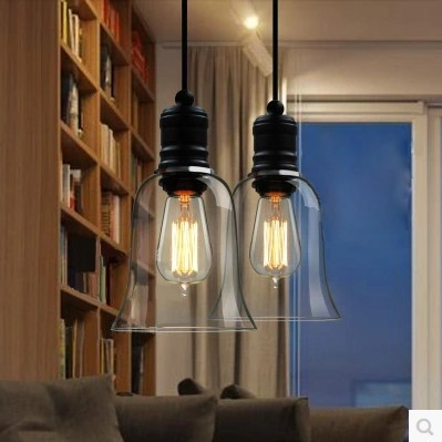 60W Edison Vintage Industrial Lighting Pendant Lamp with Glass Lampshade In Retro Loft Style,Lampara Colgante De Techo iwhd 60w retro loft style vintage lamp industrial pendant lighting with metal lampshade edison lampara colgante