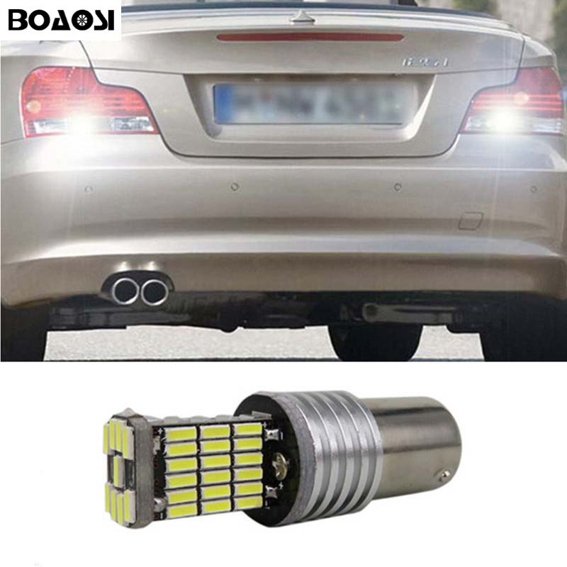 BOAOSI 1x Canbus no error backup reverse light lamp 1156 Ba15s S25 P21W LED 4014 Chip for BMW E30 E36 E46 F30 wljh 2x canbus 20w 1156 ba15s p21w led bulb 4014smd car backup reverse light lamp for bmw 228i 320i 328d 328i 335i m3 x1 x4 2015