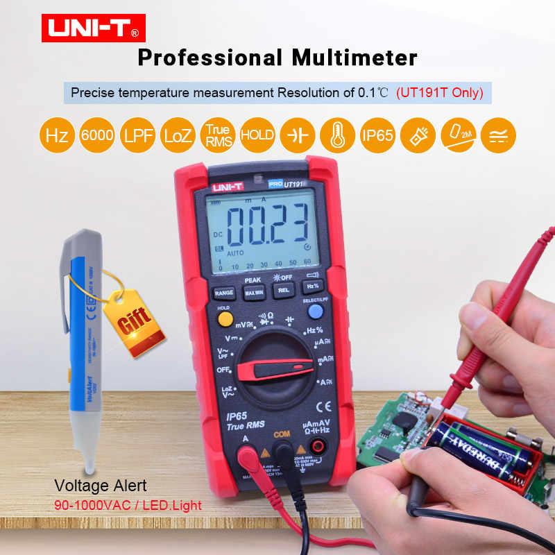 전문 디지털 멀티 미터 UNI-T UT191E/UT191T True RMS AC DC 전압 전류 옴 시험기, IP65 방수/방진, ACV LPF