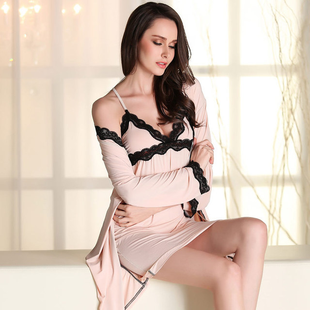 Autumn women's sexy nightgown two-piece lace long sleeve robe