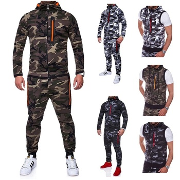 Camouflage Mandarin Collar Zipper Fly Military sets