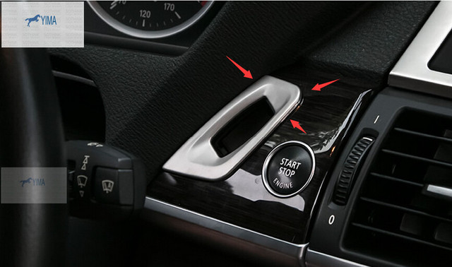 Stainless Steel Keyhole Key Ring frame cover trim Interior Accessories For BMW X5 E70 2009 - 2013 / X6 E71