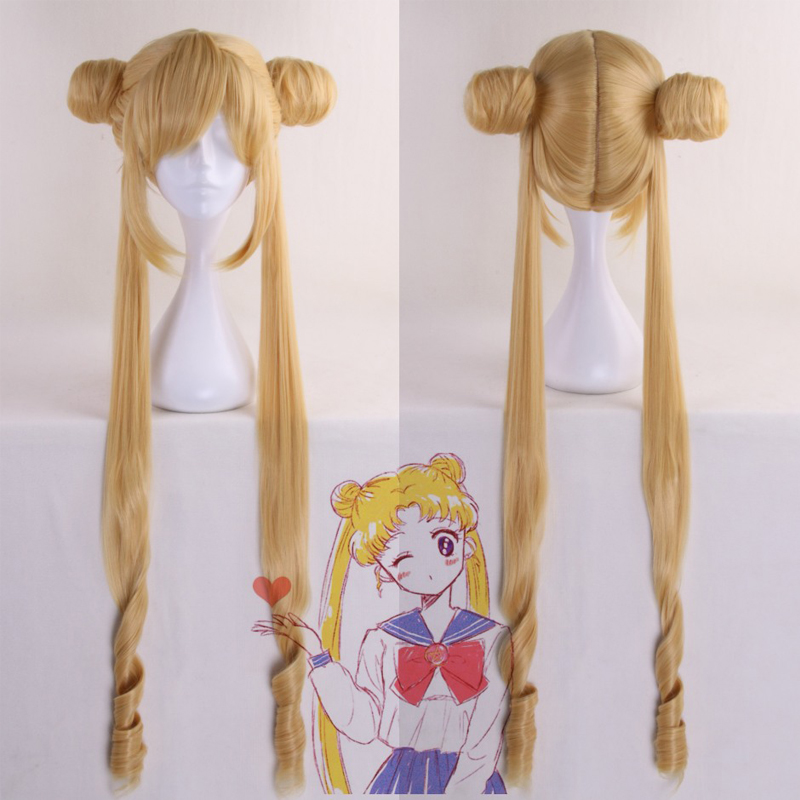 120cm Long Curly Golden Tsukino Usagi Sailor Moon Synthetic Cosplay Hair Wigs Heat Resistance + Free wig Cap
