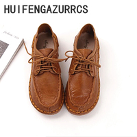 HUIFENGAZURRCS 2018 Spring,Handmade genuine leather shoes,Round low shoes,The bottom of TPR shoes,Mori girl flat shoes,3 colors