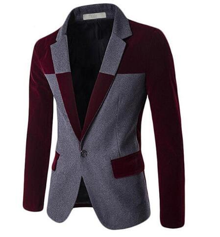 1d0b395fa4faf Loldeal 2018 Stitching Blazer for Men Wool Blends Contrast Color Men Blazer  Slim Fit Big Size Casual Blazer terno masculion