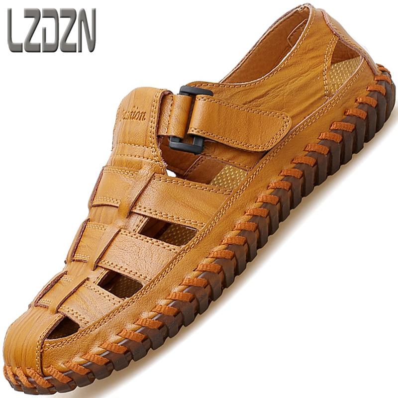 Grande taille en cuir chaussures hommes sandales été loisirs cool en cuir pantoufles a paresseux tongs chaussures décontractées plage en plein air