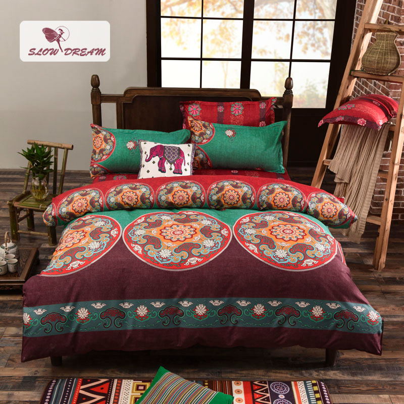 Slow Dream Bohemia Style Bedding Set Round Pattern Fashion Comfortable Home Textiles Printing Duvet Cover Bedspreads 4 Size
