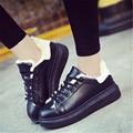 2016 otoño y el invierno nuevo cordón blanco zapatos versión Coreana de la pizarra zapatos femeninos zapatos ocasionales respirables tamaño 35-40