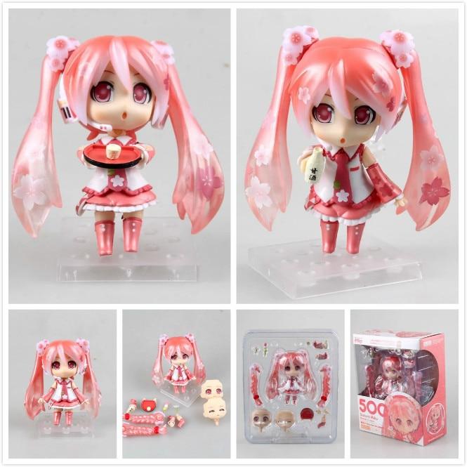 Cute Nendoroid Anime Hatsune Miku Sakura Miku 500# 10cm PVC Action Figure Collectible Model Toy Doll KT657