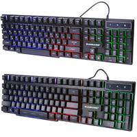 Sunrose k201 usb 러시아어/영어 기계식 키보드 104 키 3 색 조정 가능한 백라이트 splashproof 컴퓨터 게임 키패드