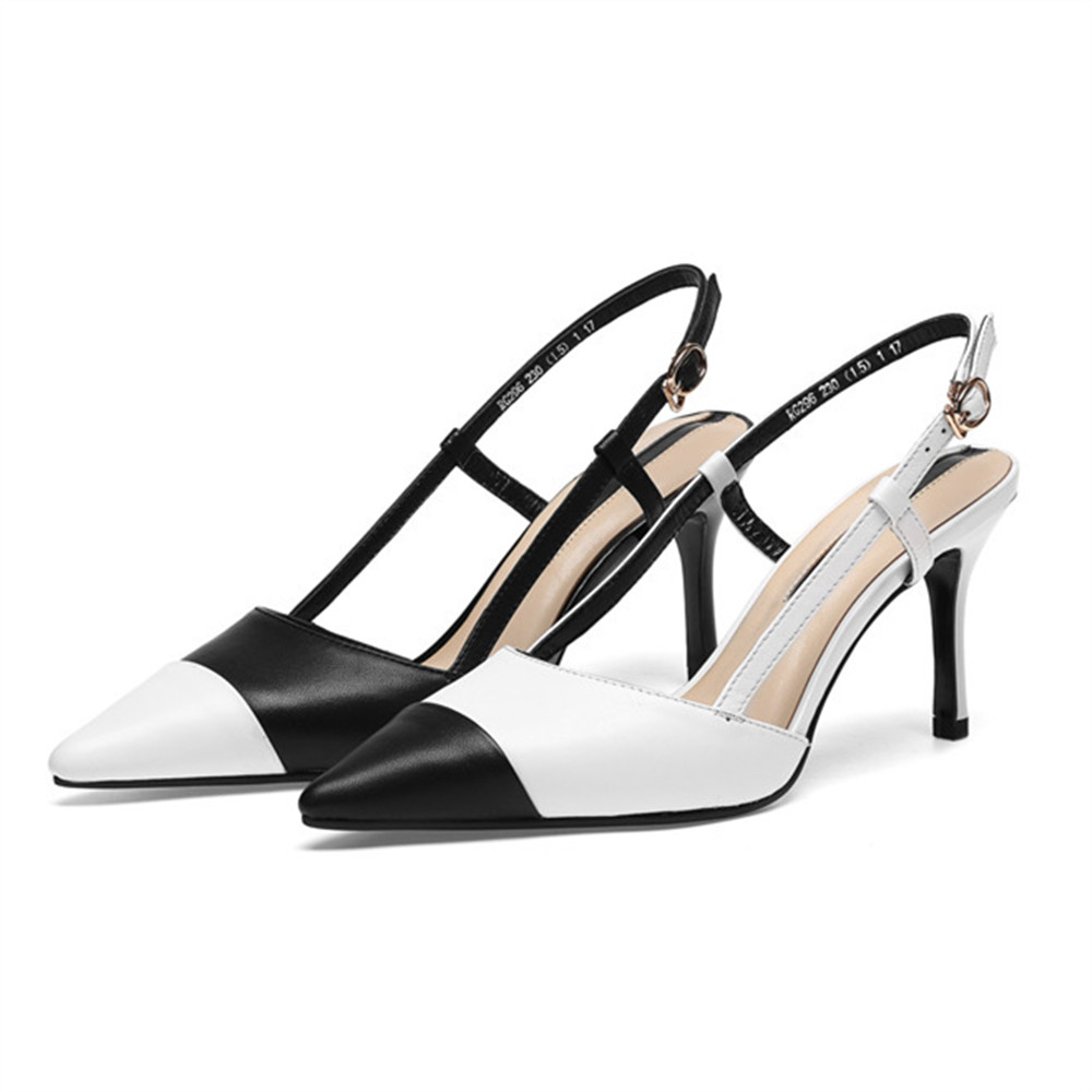 Asumer 패션 블랙 화이트 혼합 색상 여성 펌프 지적 발가락 버클 천연 정품 가죽 얇은 뒤꿈치 하이힐 신발-에서여성용 펌프부터 신발 의  그룹 3
