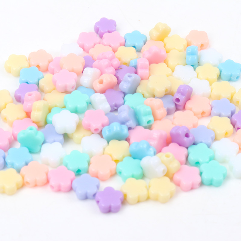 New Hot Sale Spring Color Mixed Acrylic Beads Flower Spacer beads Handmade Jewlery Accessory 9mm 100pcs Wholesale(China)