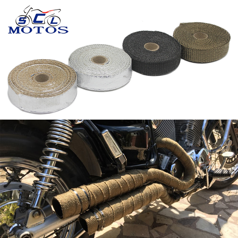 Sclmotos-Motorcycle Exhaust Pipe Header Heat Wrap Resistant Downpipe Thermo Turbo for Car Motorcycle Fiberglass Heat Shield Tape contrast striped petal sleeve dip hem shirt
