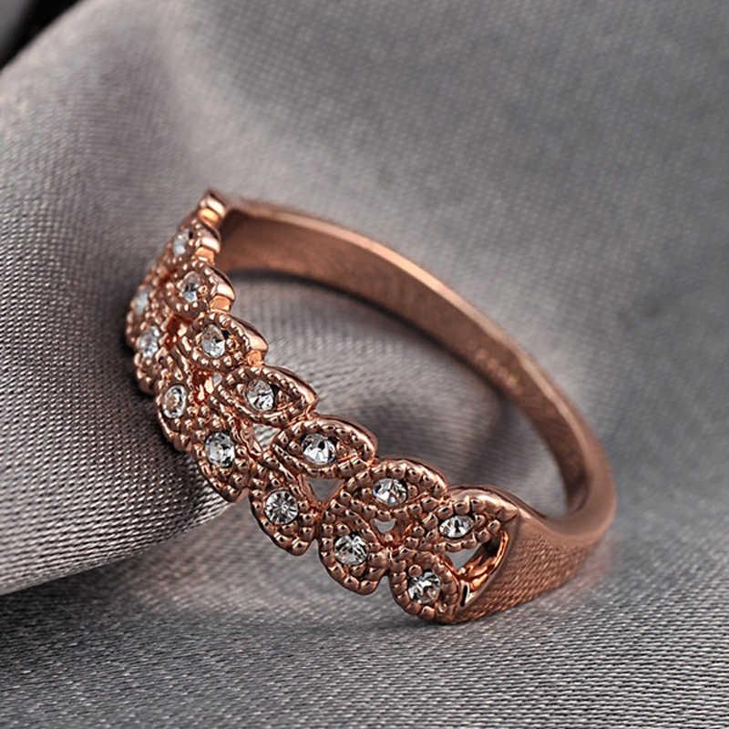 Iutopian ยี่ห้อ Rose 2014 แหวนคริสตัลออสเตรีย Stellux Top คุณภาพขายส่ง 1 # RG95683