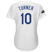 9f46b4ec477 Game jersey Women s Los Angeles Dodgers Justin Turner White 2018 Postseason Cool  Base Player Jersey