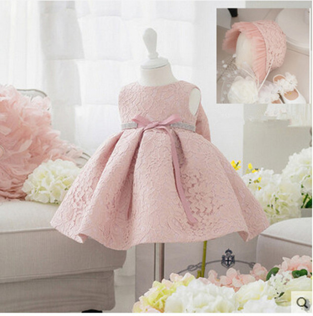 2017 New Summer Baby Girl Baptism Dress With Hat Gown Ball Pink Formal  Baptism Clothes Baby 4f1f3030e011