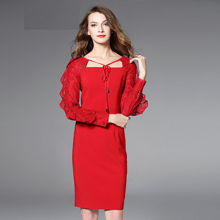 2019 new fashion lady elegant party dress women squre collar long sleeve party dresses lace sleeves