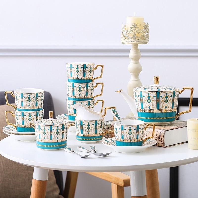 Green Coffee cup set of 6 bone china Tea set china Tableware set