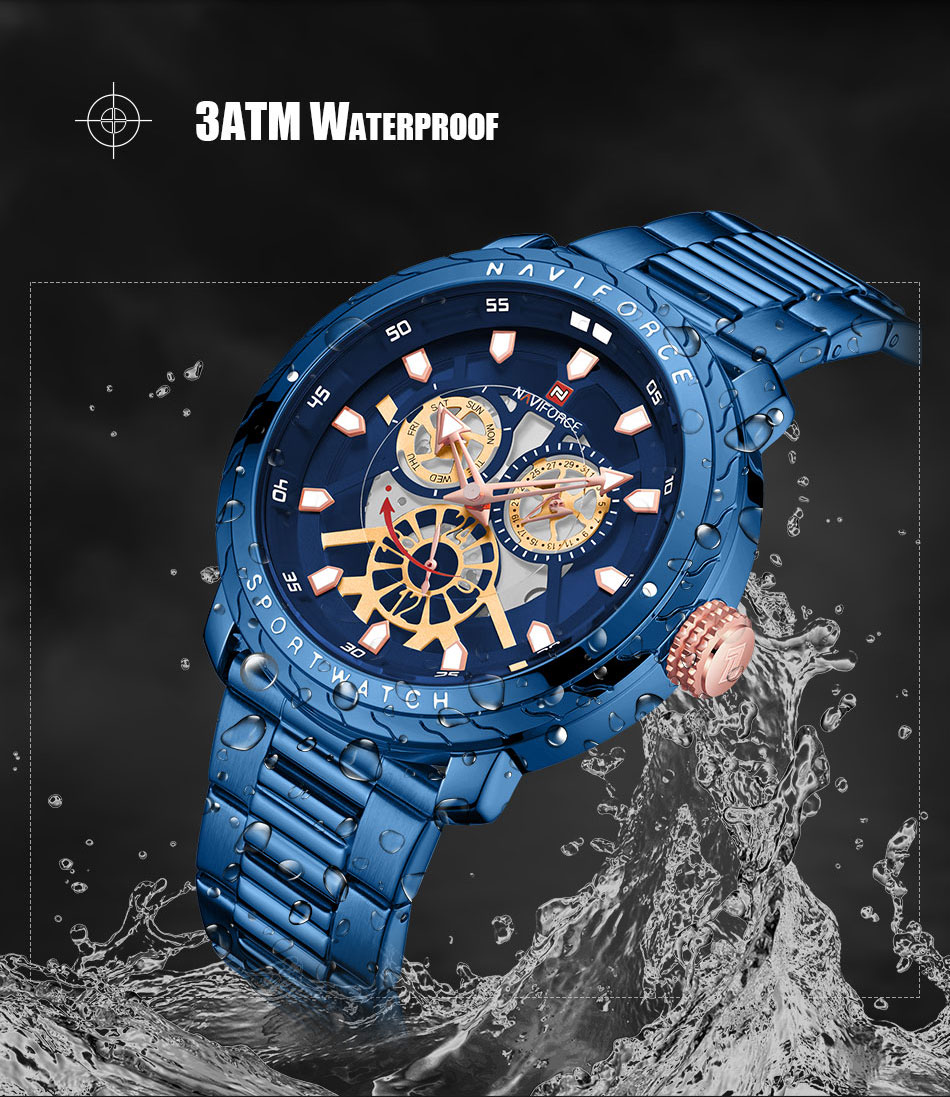 NAVIFORCE Fashion Watch For Men Top Brand Luxury Sport Watch Male Waterproof Quartz Wrist Watch Men's Stainless Steel Watch 2019 (6)