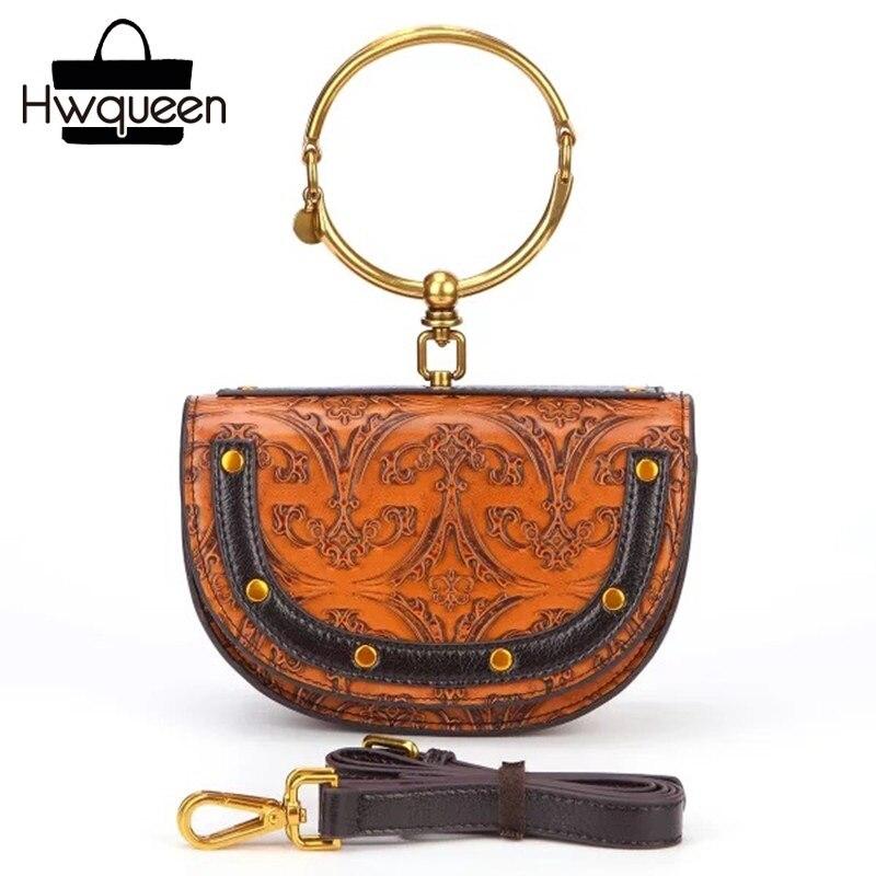 Sac de messager de femme en cuir véritable Design demi-cercle de luxe Bracelet en métal doré poignée dame petit sac à main bandoulière sac