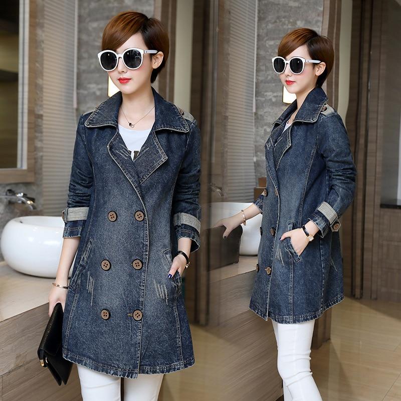 2018 New Fashion Denim Jackets Women Long Sleeve Double Breasted Jean Coat Spring Autumn Denim Coat Female Outwears Plus Size