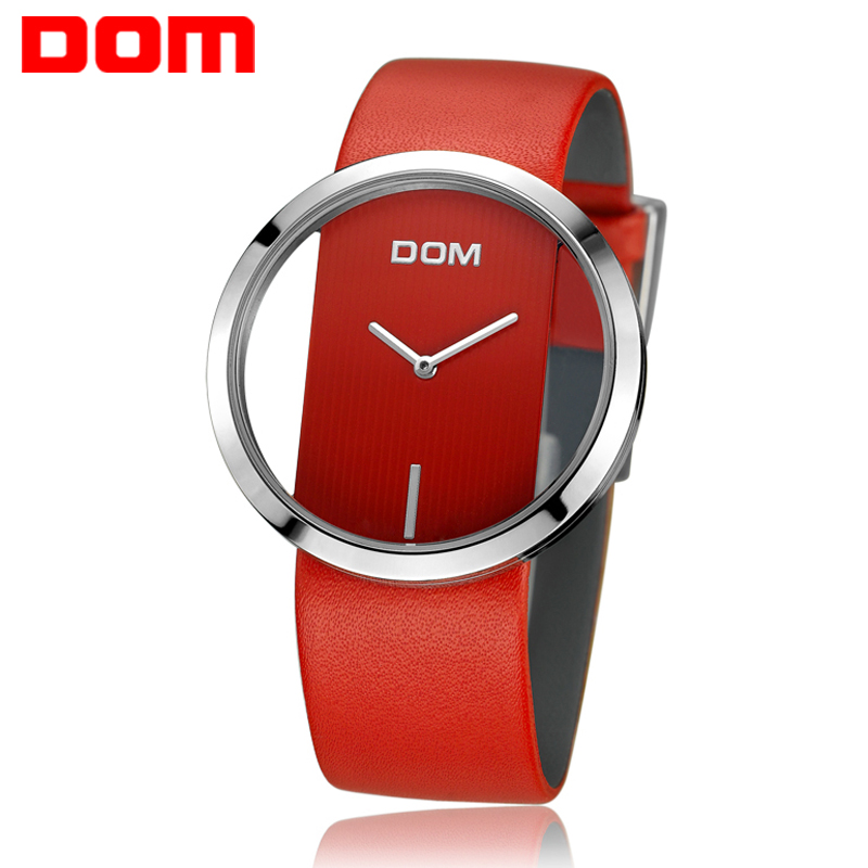 DOM Brand Fashion Woman Watch Quartz Hollow Skeleton Ladies watches Leather Sport Casual Unique Stylish Women's Wristwatches