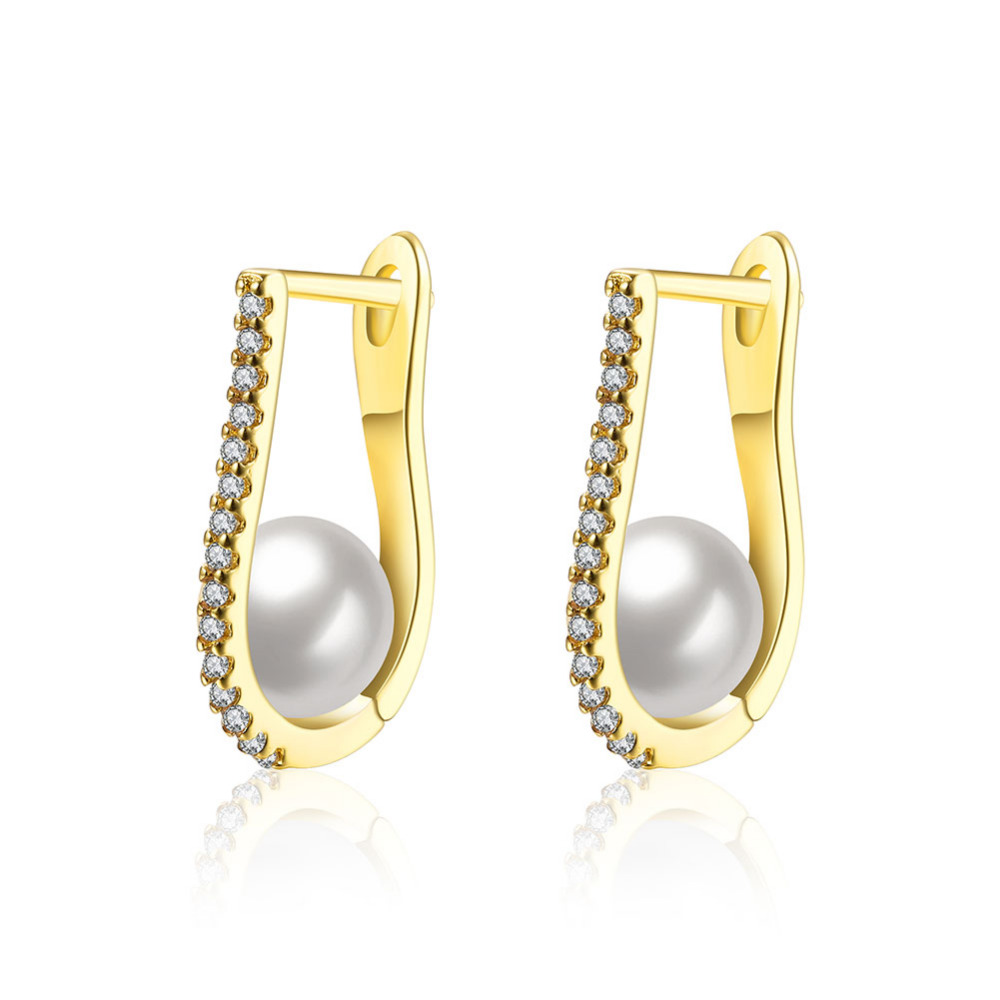 New Fashion Round Circle Imitate Pearl Earrings Beautiful Crystal ...