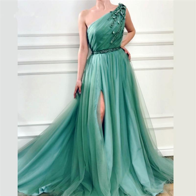 Mint Green Muslim Evening Dresses 2019 A line One shoulder Tulle Beaded Slit Dubai Saudi Arabic Long Formal Evening Gown-in Evening Dresses from Weddings & Events