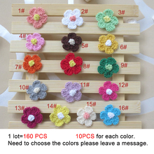 YarnCrochet fait à la main applique Patchwork  160 pièces 2.8cm en laine tricotée, broderies, accessoires de couture, pâte de tissu décoration 349