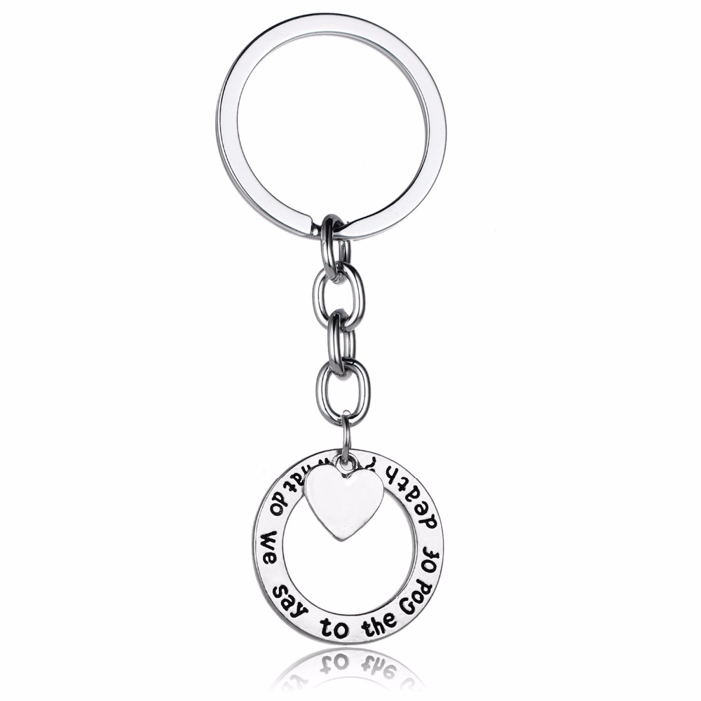 Chic Game Of Thrones Keyring What Do We Say To The God Of Death Love Heart Keychain Women Men BFF Charm Jewelry Key Chains Rings(China)