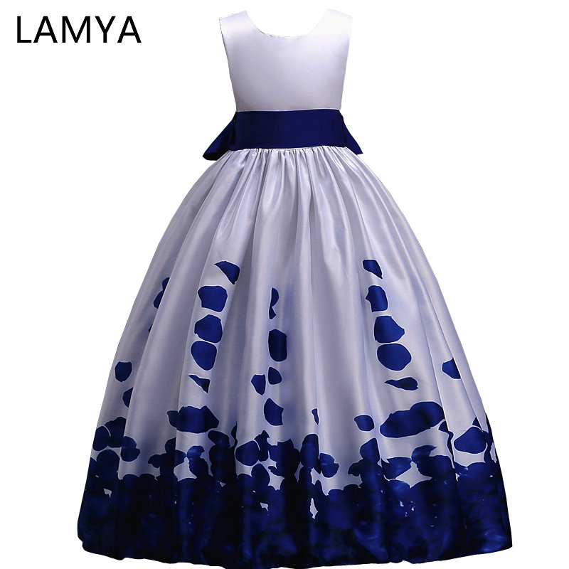 LAMYA Kids   Flowers     Girls     Dresses   Elegant Evening Gowns Long A Line Satin Printing For Weddings With Bow vestido longo