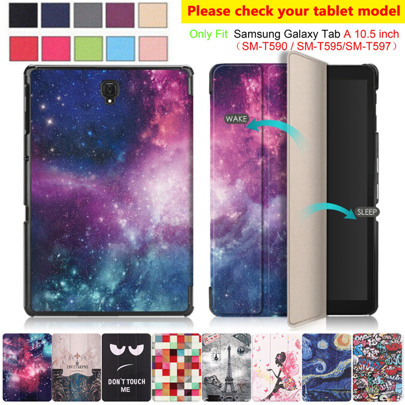 PU Leather <font><b>Case</b></font> For Samsung Tab A2 10.5 inch 2018 <font><b>SM</b></font> <font><b>T590</b></font> T595 T597 Smart Magnetic Stand Cover For Galaxy Tab A2 10.5 <font><b>Case</b></font> image