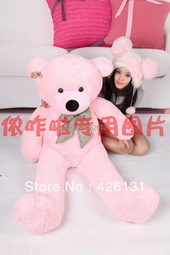 Partihandel björnhölje Teddy Bear Fur skal plysch leksak 160cm födelsedag Alla hjärtans dag present färg rosa gratis frakt