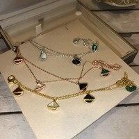 Brand Pure 925 Sterling Silver Jewelry For Women fan bracelet nature stone four small charms fan bracelet Party Jewelry