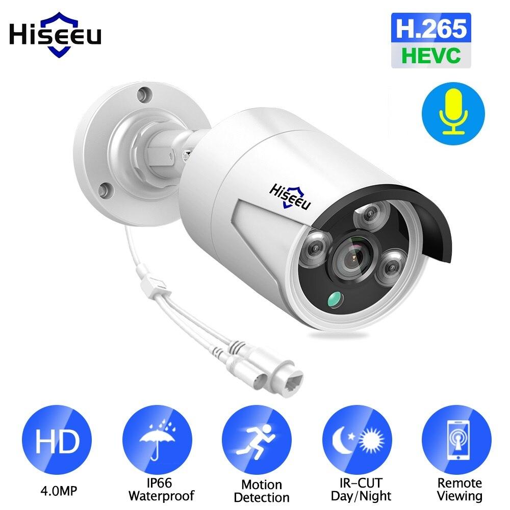 Hiseeu 4MP POE IP Caméra Extérieure Étanche H.265 CCTV Caméra Vision Nocturne P2P Détection De Mouvement ONVIF PoE NVR 48V