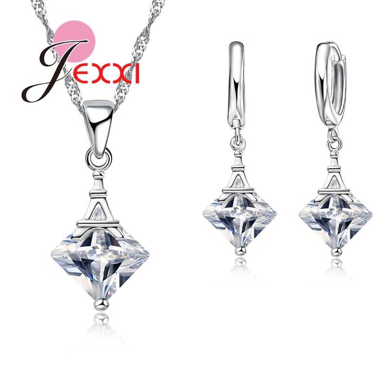 GemäßIgt Jemmin Luxus Eiffelturm Kristall Modeschmuck Set Frauen Hochzeit Zubehör 925 Sterling Silber Schmuck Set Hochglanzpoliert