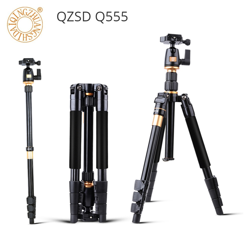 QZSD Q555 Camera Tripod Aluminium Alloy Camera Video Monopod with Quick Release Plate Stand Professional Extendable Tripod bt 158 aluminium alloy 1460mm camera video monopod professional extendable tripod slr dslr holder stand with carry bag