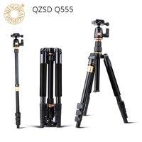 QZSD Q555 Camera Tripod Aluminium Alloy Camera Video Monopod with Quick Release Plate Stand Professional Extendable Tripod