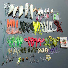 101 Pcs /Set Fishing Tackle Set with Soft Worm Lures+Metal Spinner Spoon Lures+Night Lures+Fishhooks+Connectors+Sinkers