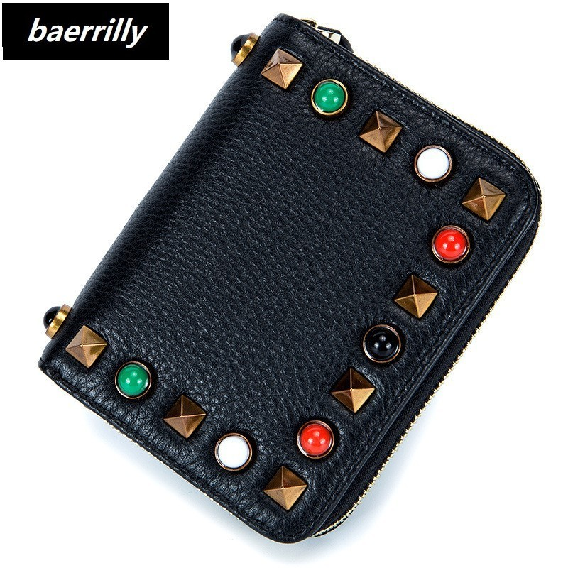 Fashion Small Wallet Women Short Luxury Brand Female Purse Genuine Leather Rivet Design Girl Lady Zipper Wallets Card Holder Bag rfid booking women wallets double zipper genuine leather wallet women purse small short clutch lady handy bag card holder wallet
